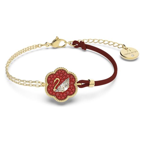 Flower of Fortune 手鏈, 天鵝, 紅色, 鍍金色色調 - Swarovski, 5599281