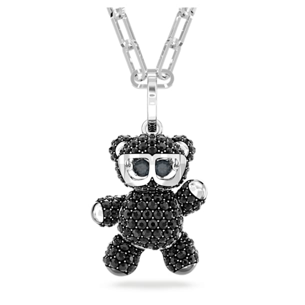 Teddy 鏈墜, 黑色, 鍍白金色 - Swarovski, 5599282