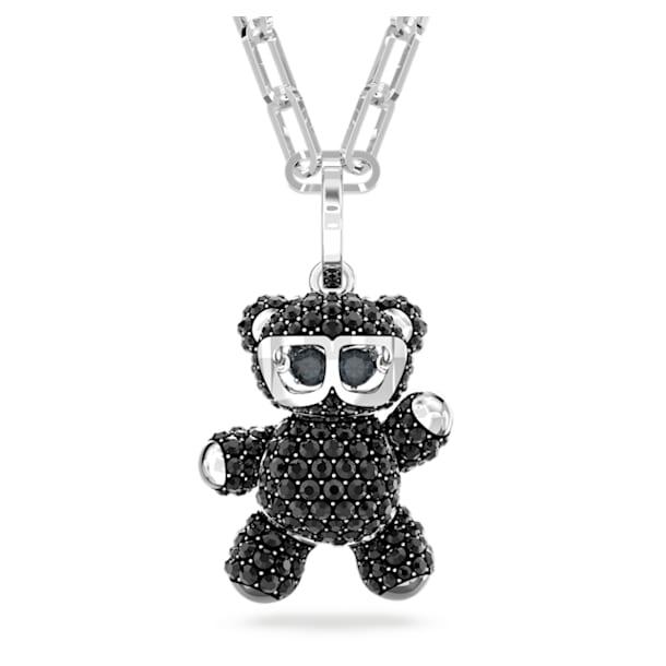 Teddy pendant, Bear, Black, Rhodium plated - Swarovski, 5599282