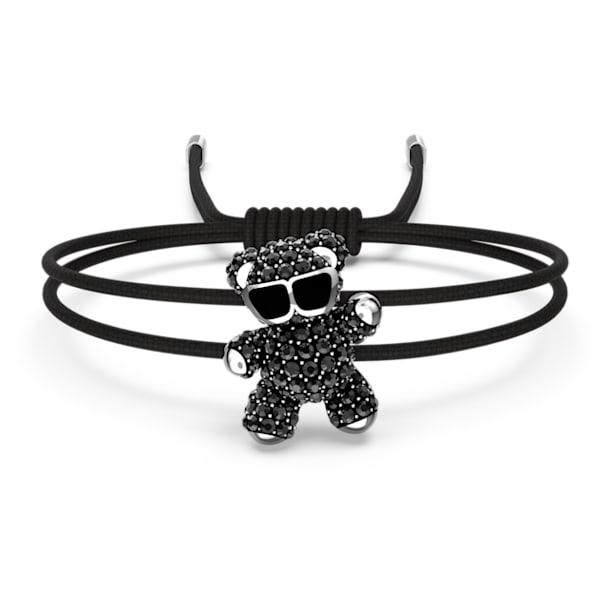 Teddy Bracelet, Black, Rhodium plated - Swarovski, 5599283