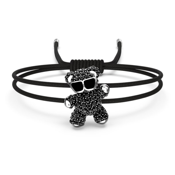 Teddy 手鏈, 黑色, 鍍白金色 - Swarovski, 5599283