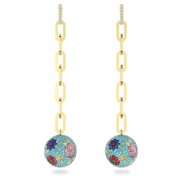Flower of Fortune earrings, Flower, Multicolored, Gold-tone plated - Swarovski, 5599486