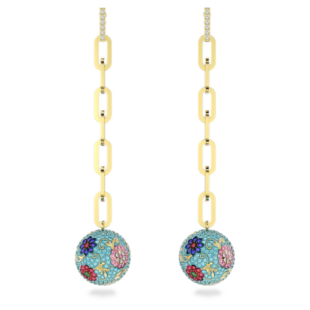 Flower of Fortune Pierced Earrings, Flower, Multicolor, Gold-tone plated - Swarovski, 5599486