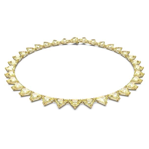 Collier Millenia, Cristaux taille triangle, Jaune, Métal doré - Swarovski, 5599487