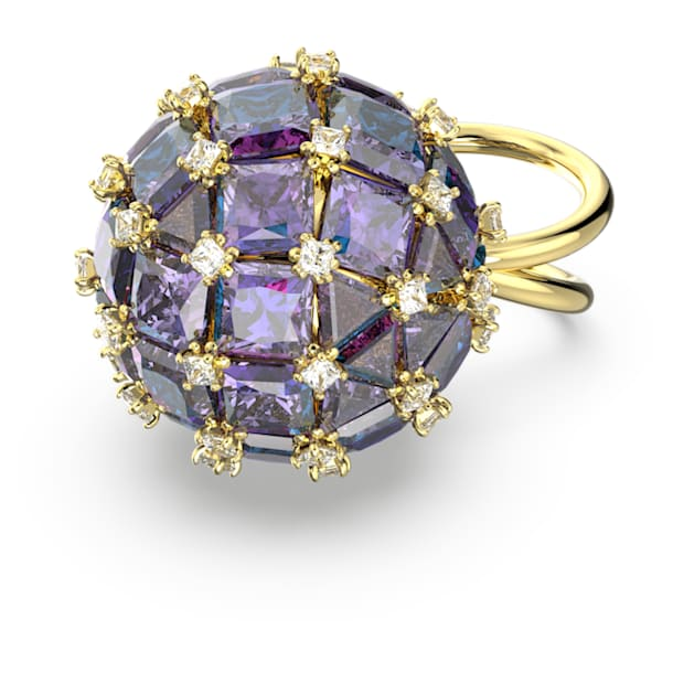 Curiosa cocktail ring, Circle, Blue, Gold-tone plated - Swarovski, 5599806