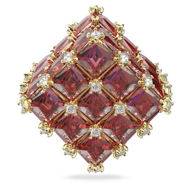Curiosa stud earring, Single, Square, Orange, Gold-tone plated - Swarovski, 5599826