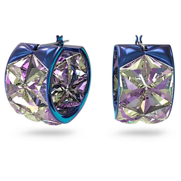 Curiosa hoop earrings, Blue - Swarovski, 5599877