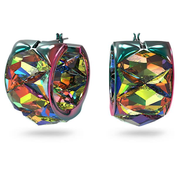 Curiosa hoop earrings, Green - Swarovski, 5599880