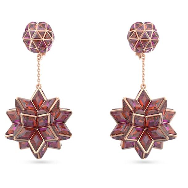 Brincos compridos Curiosa, Cristais geométricos, Rosa, Lacado a rosa dourado - Swarovski, 5599920