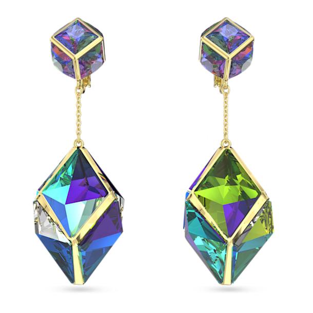 Curiosa clip earrings, Multicoloured, Gold-tone plated - Swarovski, 5599921