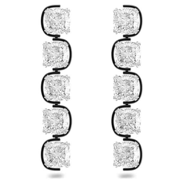 Harmonia Drop earrings, Cushion cut floating crystals, White, Rhodium plated - Swarovski, 5600043