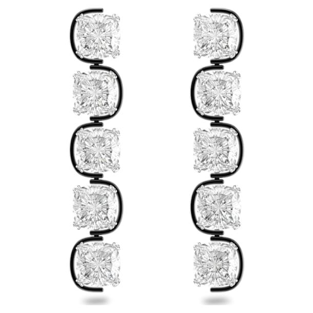 Visací náušnice Harmonia, Plovoucí křišťály s výbrusem cushion, Bílá, Smíšený kovový povrch - Swarovski, 5600043