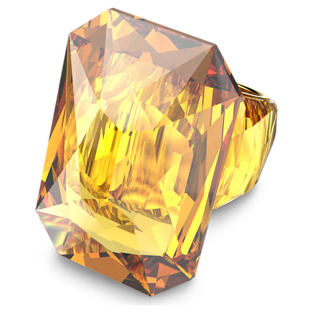 Lucent cocktail ring, Oversized crystal, Yellow - Swarovski, 5600224