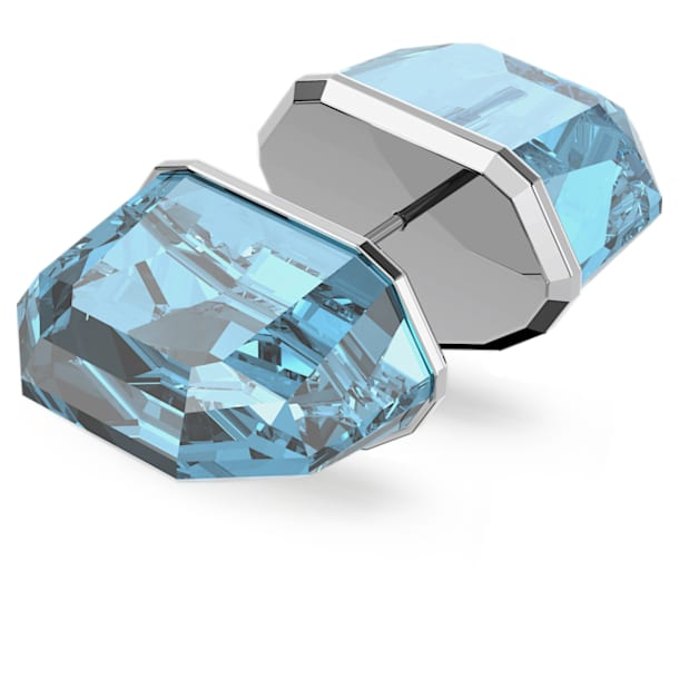 Lucent stud earring, Single, Blue, Rhodium plated - Swarovski, 5600255