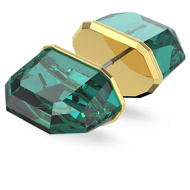 Lucent stud earring, Single, Green, Gold-tone plated - Swarovski, 5600256