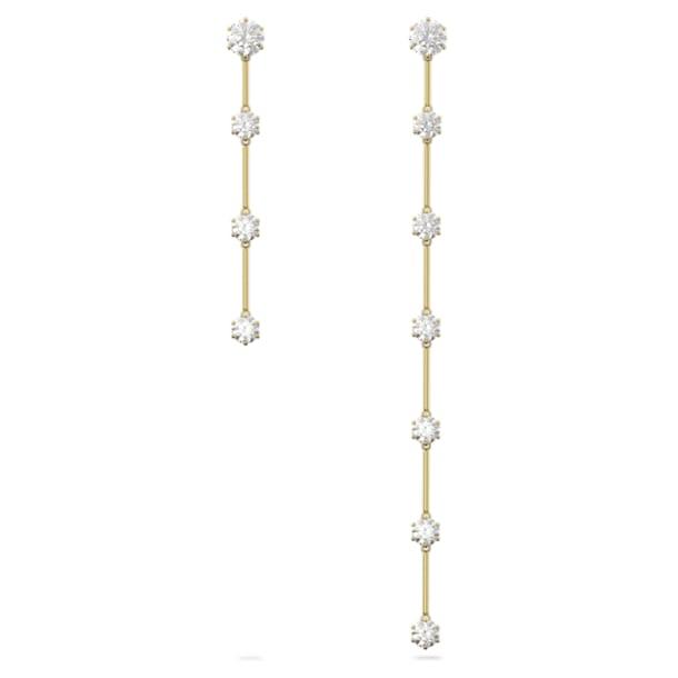 Σκουλαρίκια Constella, Ασύμμετρα σταγονοειδή κρύσταλλα, Λευκό, Επιμετάλλωση σε χρυσαφί τόνο - Swarovski, 5600490