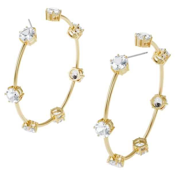 Constella hoop earrings, White, Gold-tone plated - Swarovski, 5600492