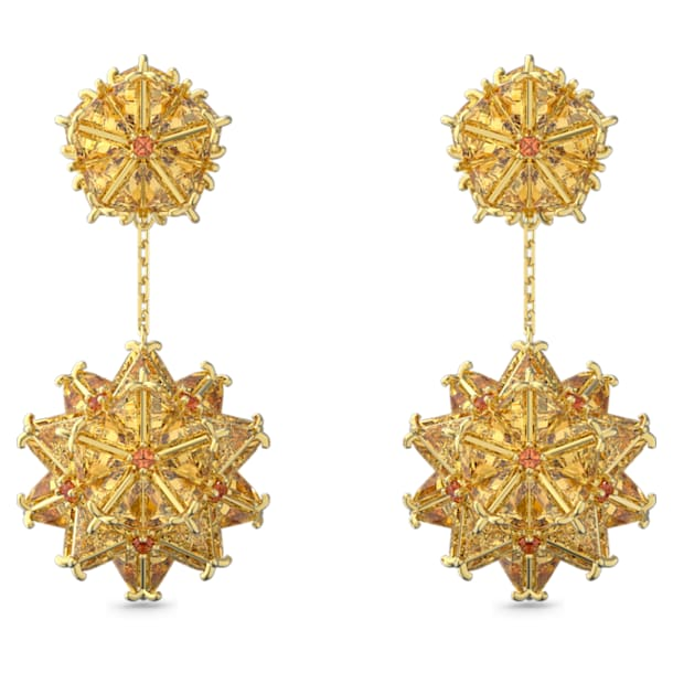 Curiosa drop earrings, Geometric Swarovski Zirconia, Orange, Gold-tone plated - Swarovski, 5600499