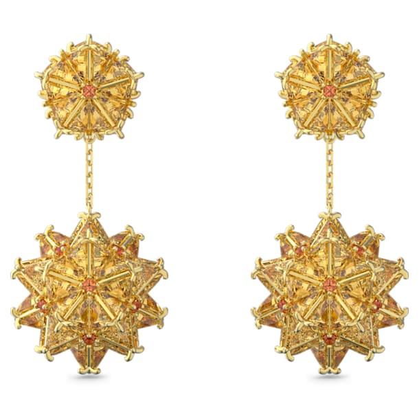 Curiosa Серьги-подвески, Кубический цирконий Swarovski геометрической формы, Оранжевый цвет, Покрытие оттенка золота - Swarovski, 5600499