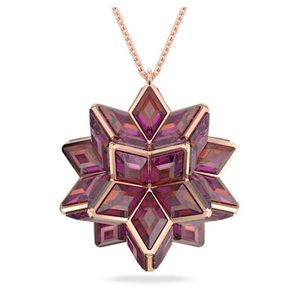 Curiosa pendant, Geometric crystals, Pink, Rose-gold tone plated - Swarovski, 5600505