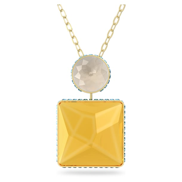 Orbita necklace, Square cut crystal, Multicolored, Gold-tone plated - Swarovski, 5600513