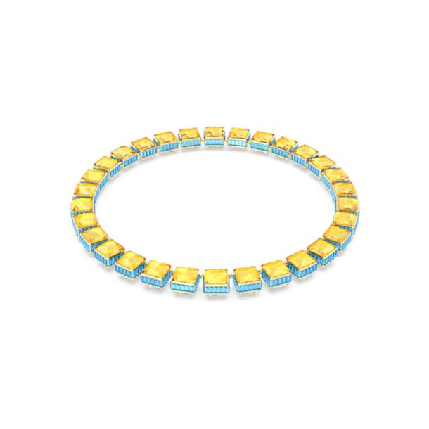 Orbita necklace, Square cut crystals, Multicoloured, Gold-tone plated - Swarovski, 5600515
