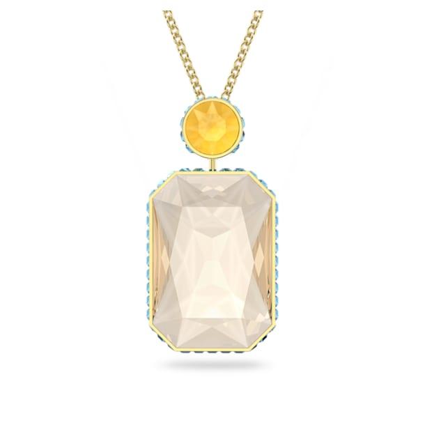 Orbita necklace, Octagon cut crystal, Multicolored, Gold-tone plated - Swarovski, 5600516