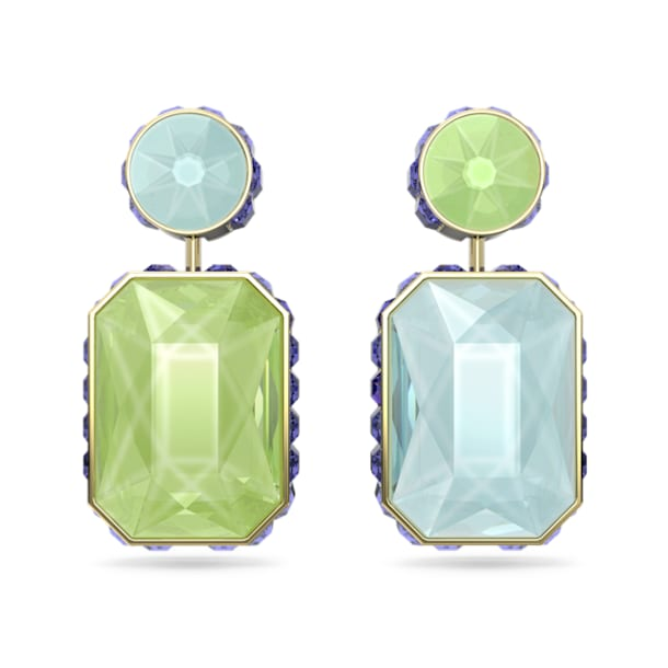 Orbita earrings, Asymmetrical, Octagon cut crystal, Multicolored, Gold-tone plated - Swarovski, 5600519