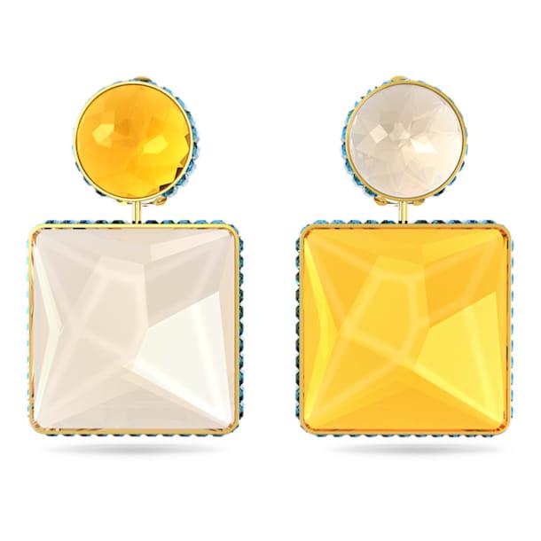 Brincos Orbita, Assimétricos, Cristal de lapidação quadrada, Multicor, Lacado a dourado - Swarovski, 5600522