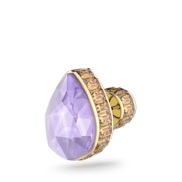 Kolczyk Orbita, Pojedynczy, Kryształ w kształcie kropli, Różnokolorowy, Powłoka w odcieniu złota - Swarovski, 5600524
