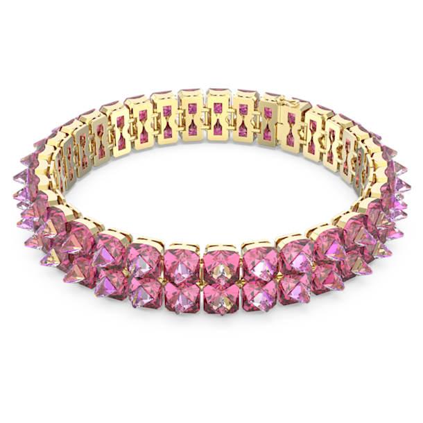 Chroma choker nyaklánc, Tüskemetszésű kristályok, Rózsaszín, Aranytónusú bevonattal - Swarovski, 5600620