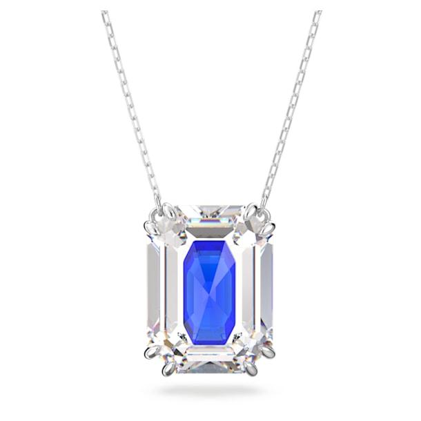 Chroma pendant, Octagon cut crystal, Blue, Rhodium plated - Swarovski, 5600625