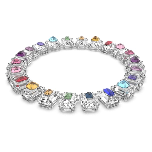 Chroma choker, Oversized crystals, Multicoloured, Rhodium plated - Swarovski, 5600626