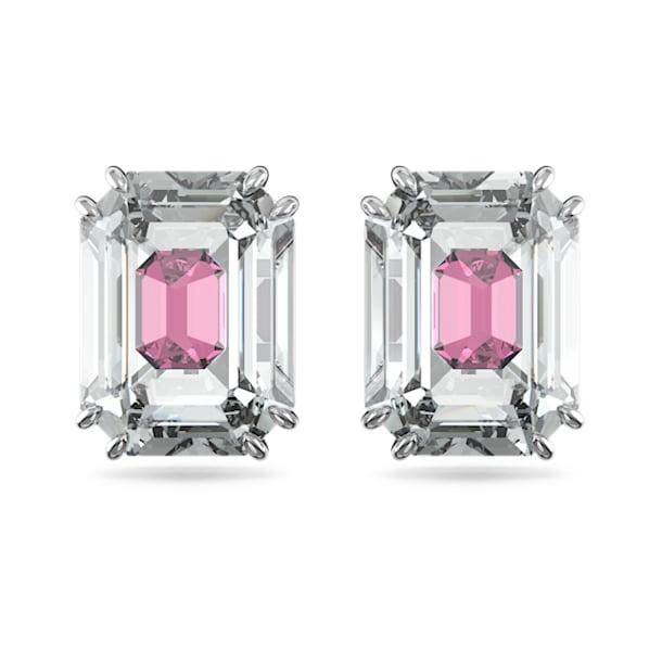 Chroma stud earrings, Pink, Rhodium plated - Swarovski, 5600627