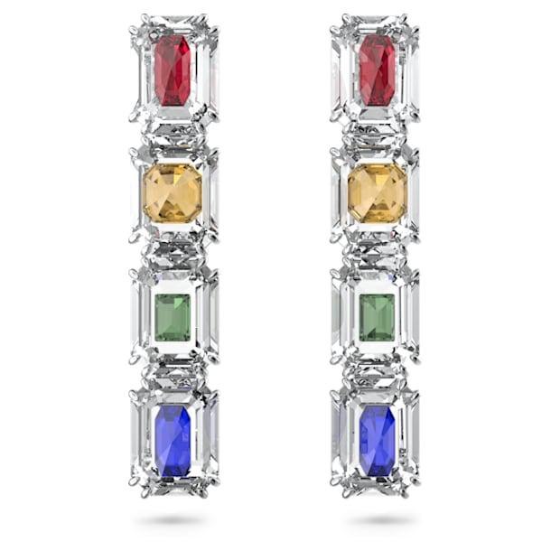 Chroma clip earrings, Oversized crystals, Multicoloured, Rhodium plated - Swarovski, 5600628