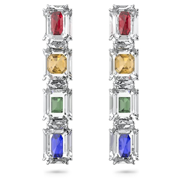 Chroma Drop Earrings, Oversized crystals, Multicoloured, Rhodium plated - Swarovski, 5600628