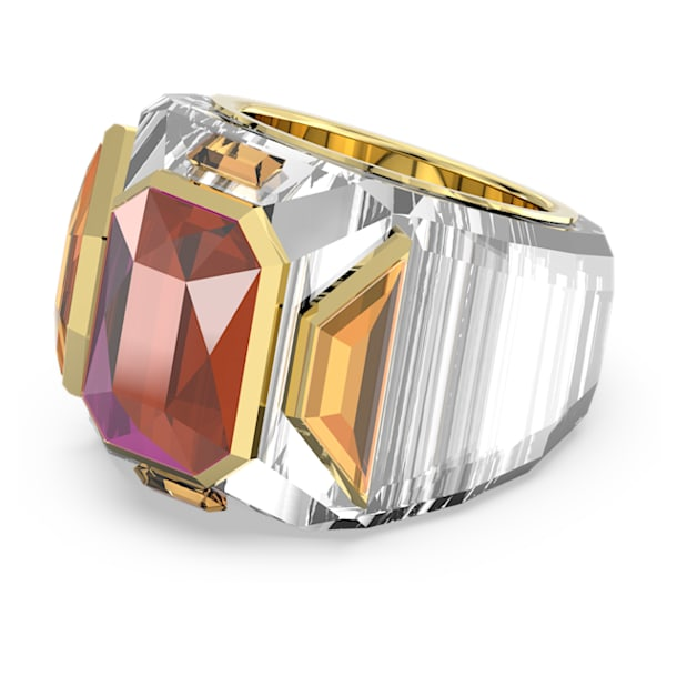 Chroma cocktail ring, Pink, Gold-tone plated - Swarovski, 5600660