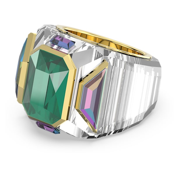 Chroma cocktail ring, Green, Gold-tone plated - Swarovski, 5600663
