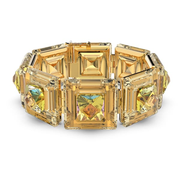 Chroma bracelet, Cushion cut crystals, Yellow, Gold-tone plated - Swarovski, 5600669