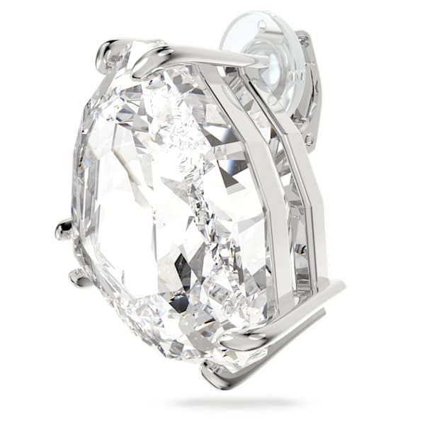Mesmera clip earring, Triangle cut crystal, White, Rhodium plated - Swarovski, 5600752