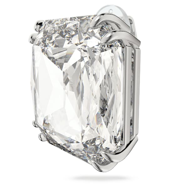 Mesmera clip earring, Single, Square cut crystal, White, Rhodium plated - Swarovski, 5600756