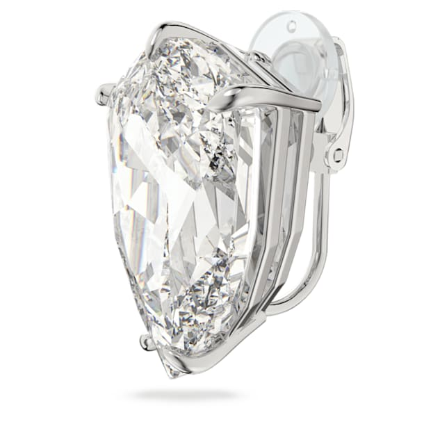 Mesmera clip earring, Trilliant cut crystal, White, Rhodium plated - Swarovski, 5600758