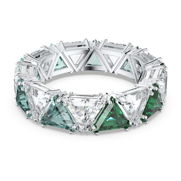 Millenia cocktail ring, Triangle cut crystals, Green, Rhodium plated - Swarovski, 5600760