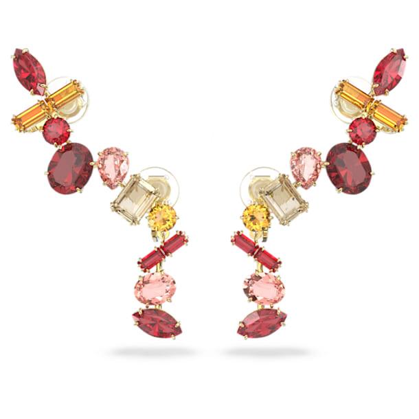 Gema clip earrings, Multicolored, Gold-tone plated - Swarovski, 5600762