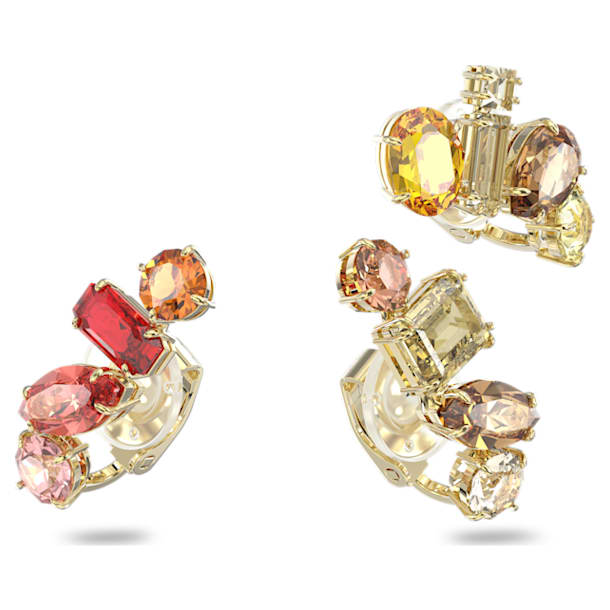 Gema clip earrings, Asymmetrical, White, Gold-tone plated - Swarovski, 5600763
