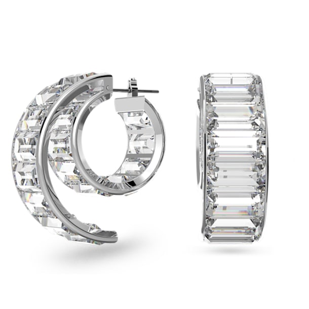 Matrix earrings, White, Rhodium plated - Swarovski, 5600776
