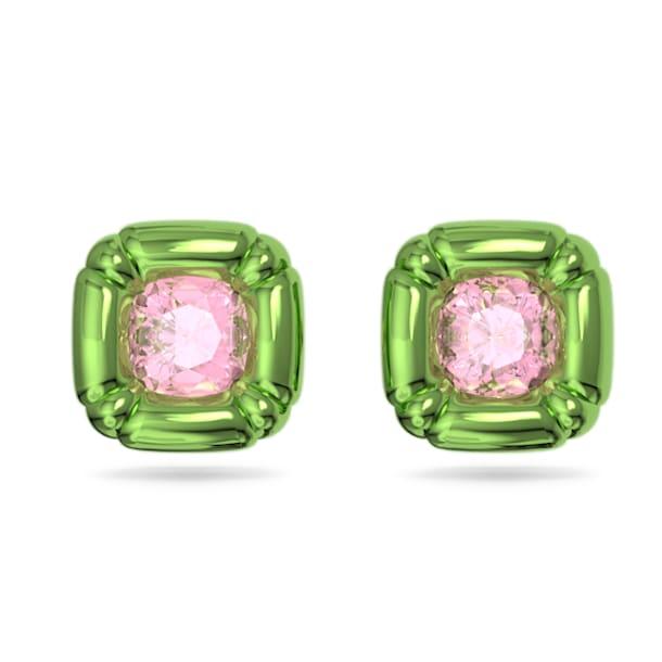 Pendientes de botón Dulcis, Cristales de talla cushion, Verde - Swarovski, 5600778