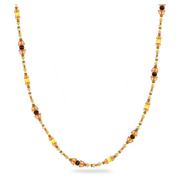 Somnia necklace, Extra long, Brown, Gold-tone plated - Swarovski, 5600790