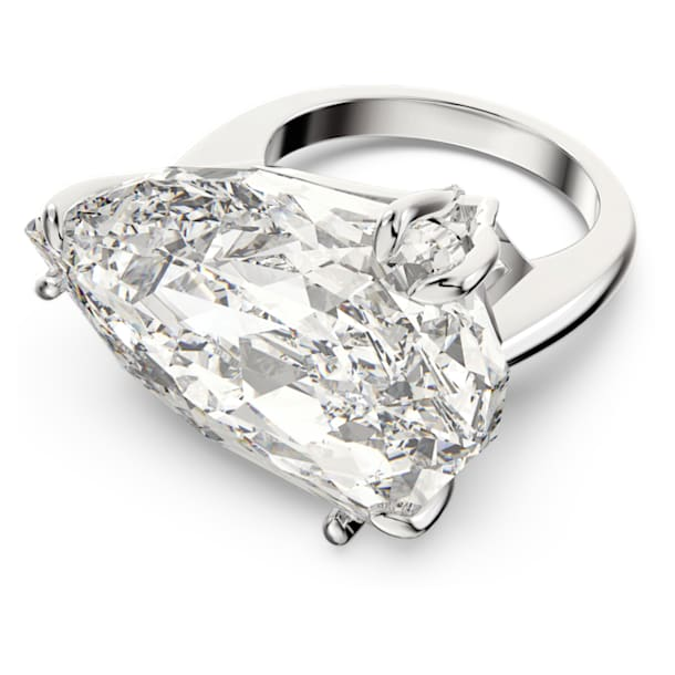 Pierścionek koktajlowy Mesmera, Kryształ o szlifie trójkątnym Trilliant, Biały, Powłoka z rodu - Swarovski, 5600856