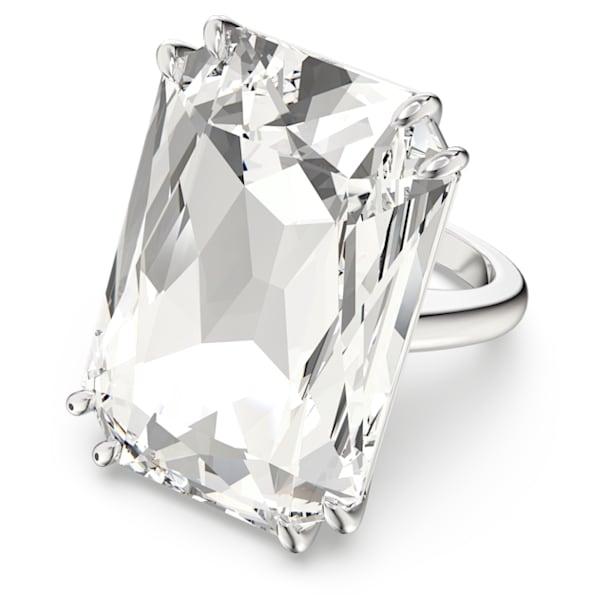Mesmera cocktail ring, Oversized crystal, White, Rhodium plated - Swarovski, 5600858